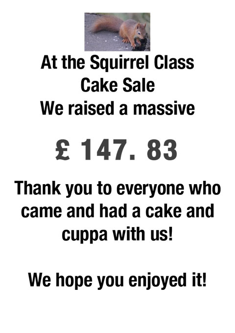 Squirrel Class Cake Sale Thank you
