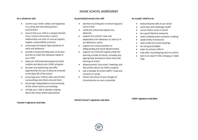 thumbnail of Home School agreement