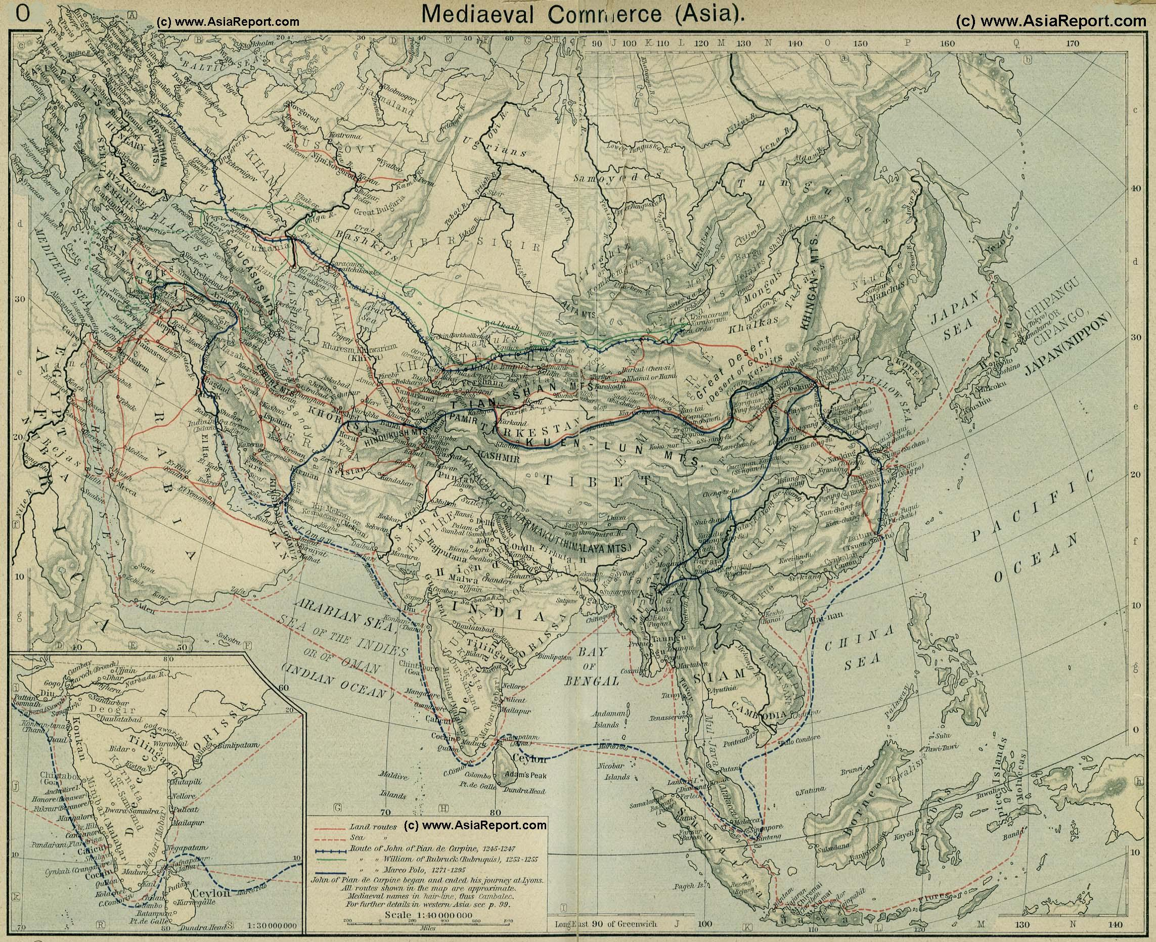 Map Eurasian Trade Routes In The 13th Century