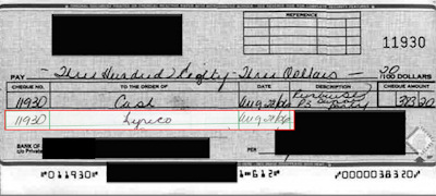 Example of actual check and tampered ledger entry