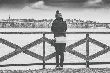 Woman Thinking Alone