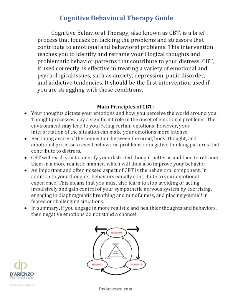 CBT Self Help for Adults page 1 Dr. D'Arienzo