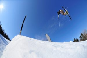 Skier performing a freestyle stunt