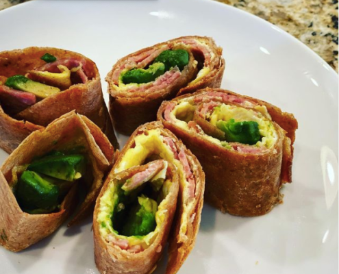 Bacon and egg chimichanga style tortilla rolls