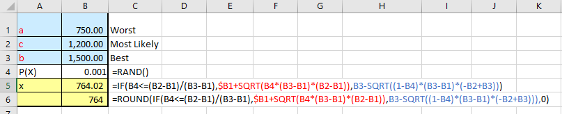 """Easy"""" Excel Inverse Triangular Distribution for Monte Carlo"""