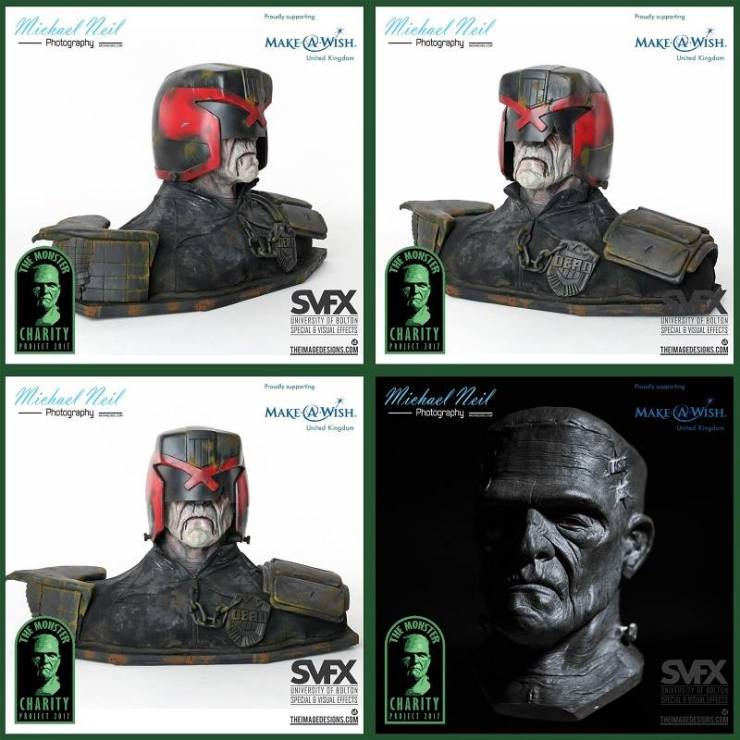 monstercharityjudgedredd - Frankenstein's Monster Busts Used to Recreate Judge Dredd, Iron Maiden's Eddie, and More
