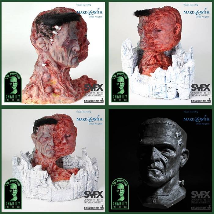 monstercharitythething - Frankenstein's Monster Busts Used to Recreate Judge Dredd, Iron Maiden's Eddie, and More