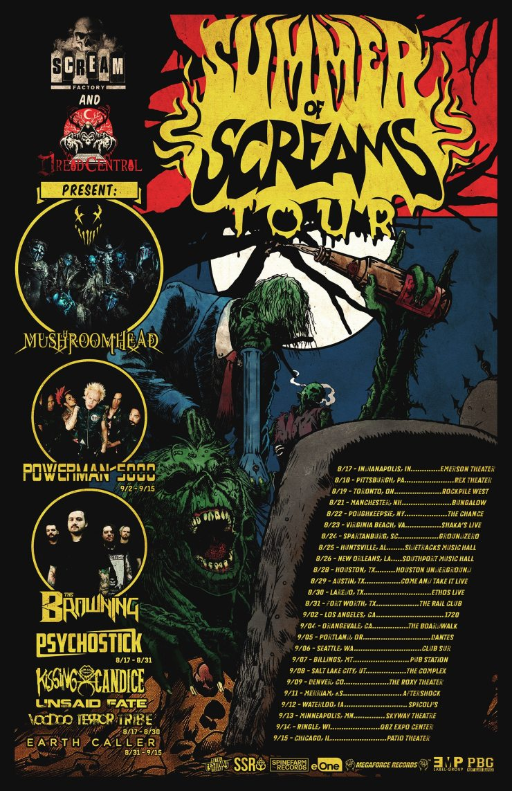 Summer of Screams w Dates WEB - SUMMER OF SCREAMS 2018: Mushroomhead's Dr. F Shares His Favorite Horror Movies and Discusses New Album