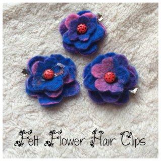 Flower Hair Clips - Blue