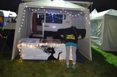 Setting up the stall for night time