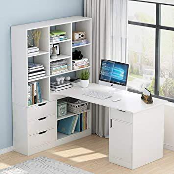 L-Shaped Wood Corner Desk Home Office Computer Desk, Modern Large pc Desk With Shelves and Drawers, Multifunctional