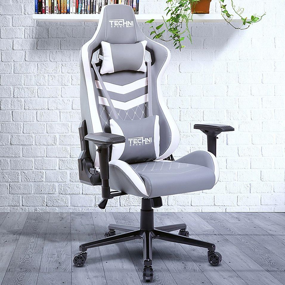 Techni Sport Faux Leather Swivel Ergonomic Chair In Grey_white