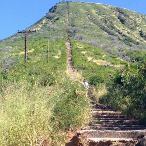 ココヘッド 階段 線路 登る