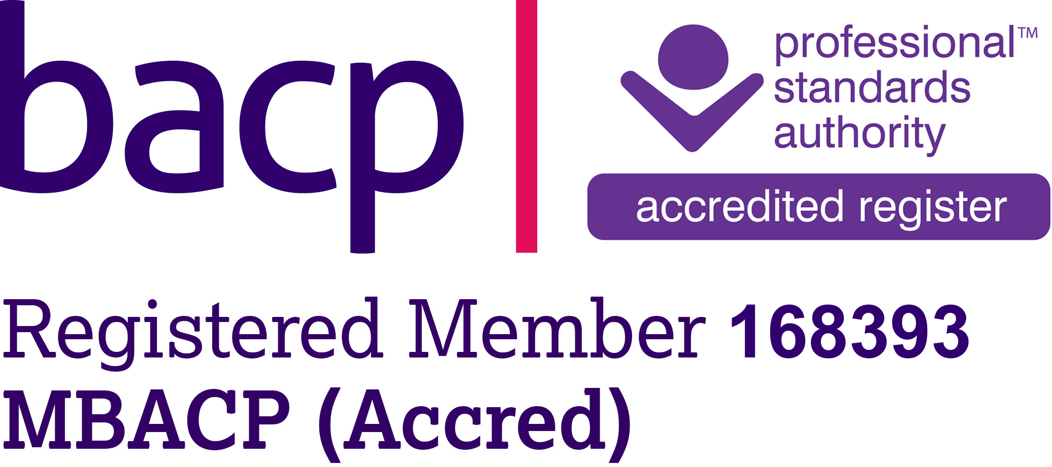 BACP Registered Member 168393 MBACP (Accred)