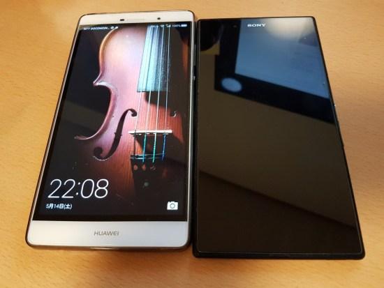 Huawei P8 Max(左)とXperia Z Ultra(右)