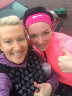 Photo of Jo and Marie Claire Dream:U fitness instructors - just back from a run, smiling with thumbs up