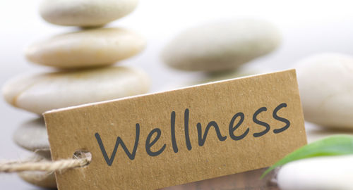 Photo of a tag saying 'wellness' in front of some stones that are slightly blurred
