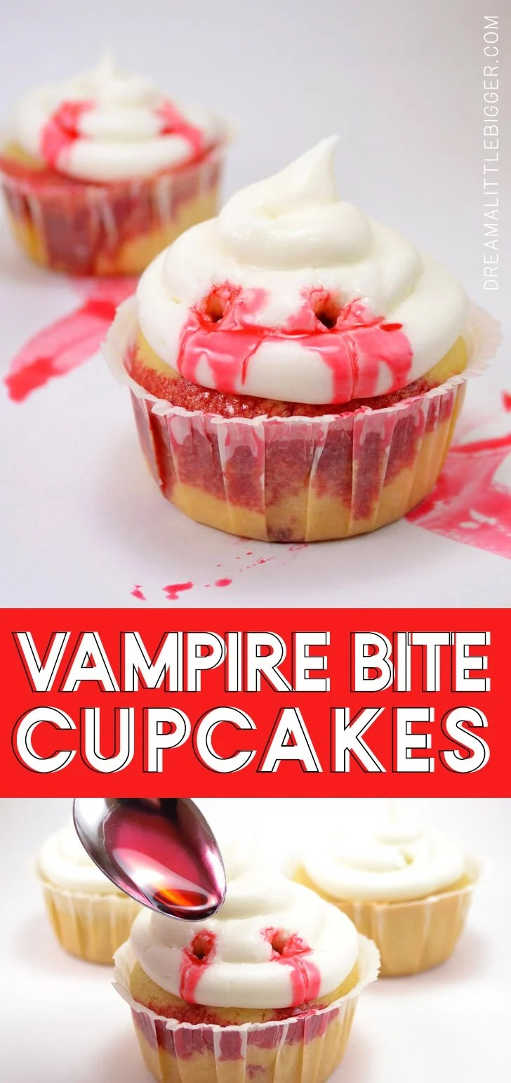Kind of creepy but kind of cute too and perfect for Halloween! Vampire bite cupcakes!