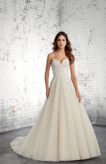 GINNY A-line gown with embroided, Lace appliques on allover crystal beaded English Net.
