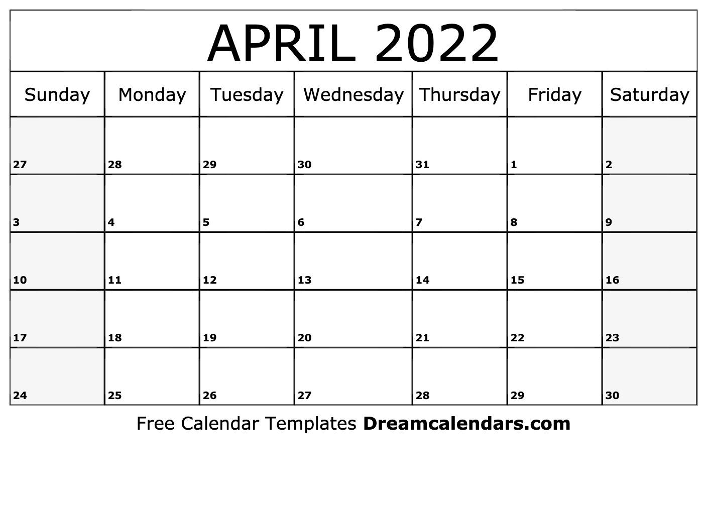 april 2022 calendar printable sunday start full day names. April 2022 calendar   free blank printable templates
