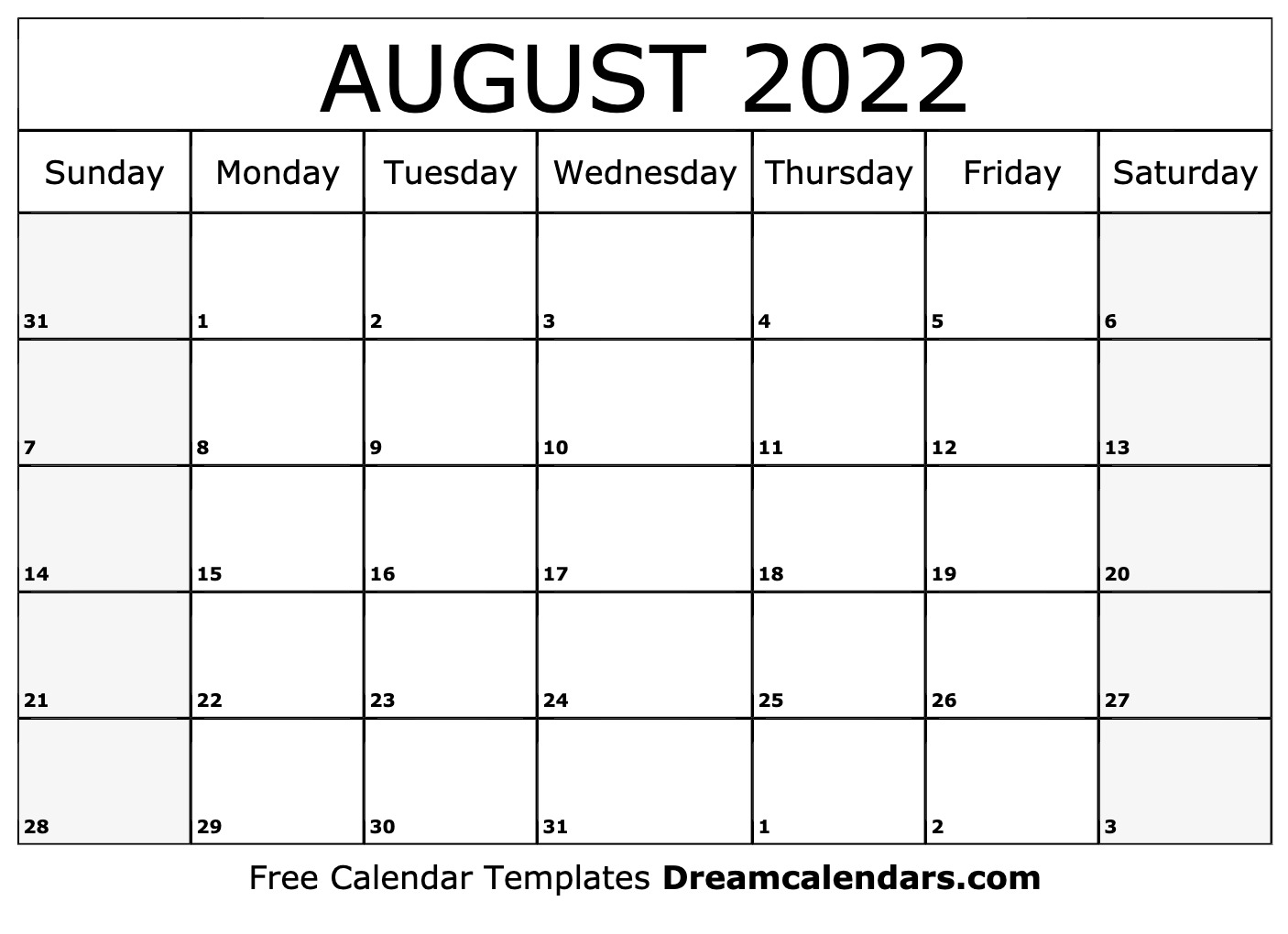 Download a free, printable calendar for 2021 to keep you organized in style. August 2022 calendar   free blank printable templates