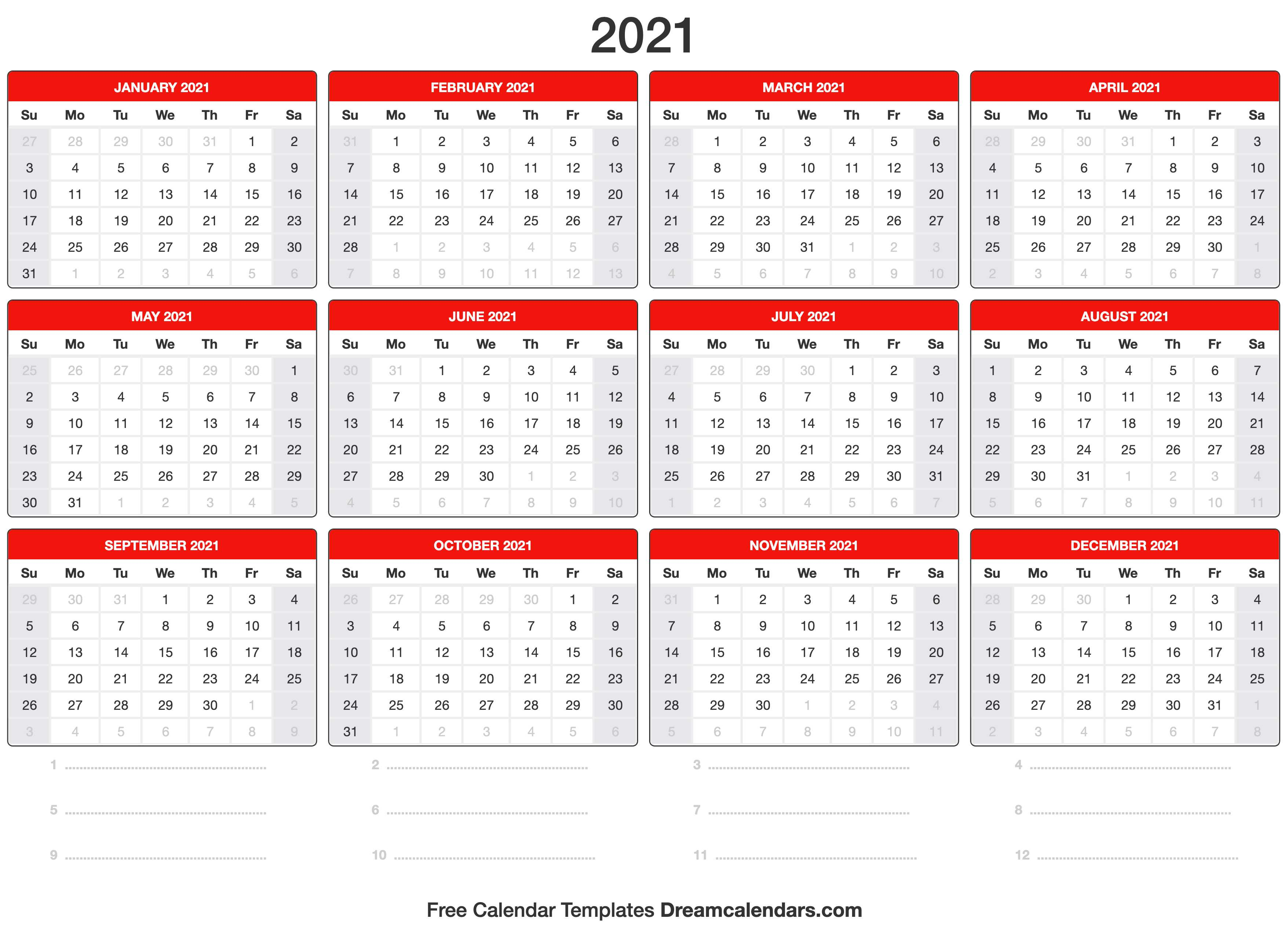 This free editable calendar template is also available in doc / docx, pdf, and jpg formats for download. 2021 Calendar
