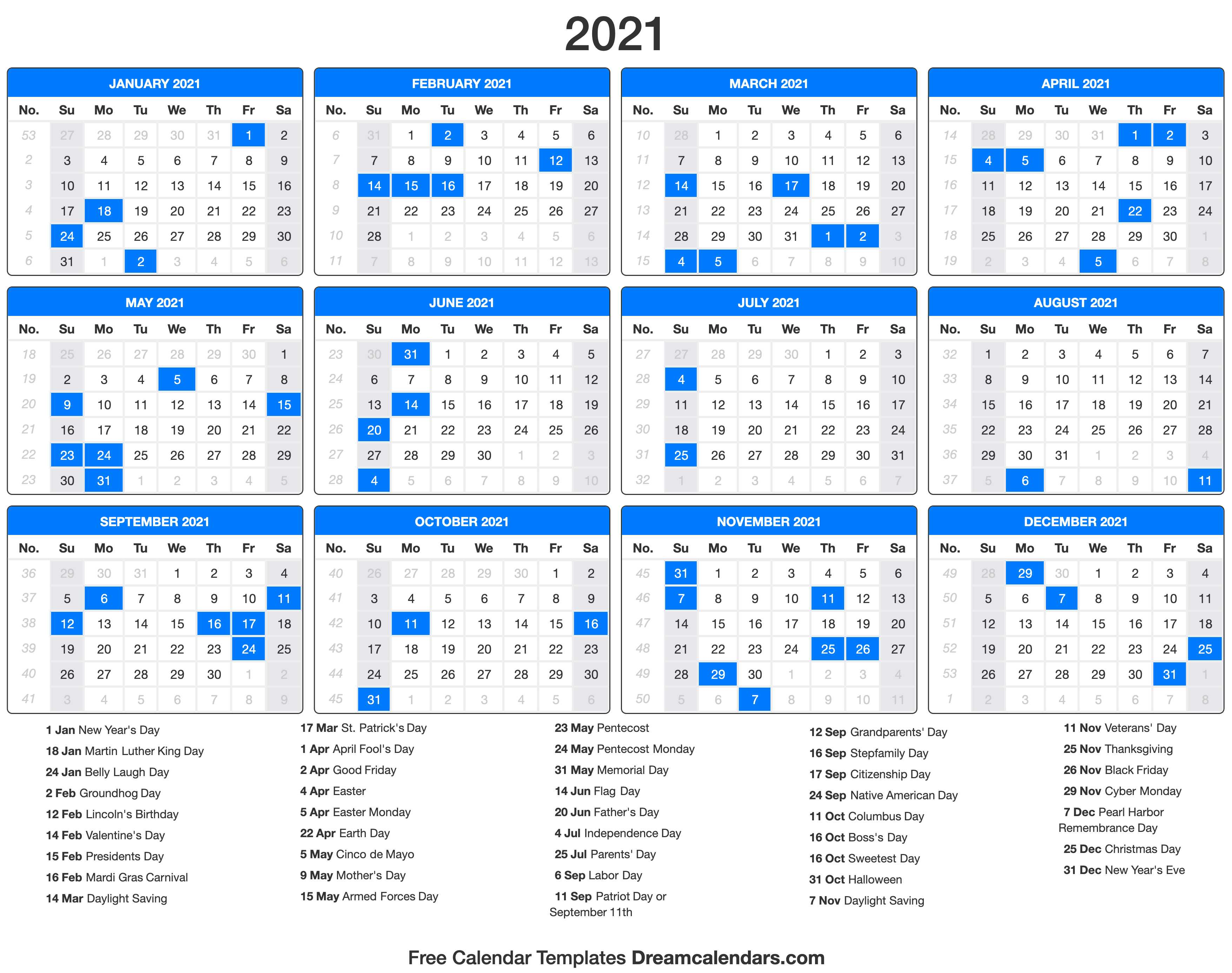 Download the classic design 2021 printable monthly planner with holidays on a large grid of microsoft word documents. 2021 Calendar