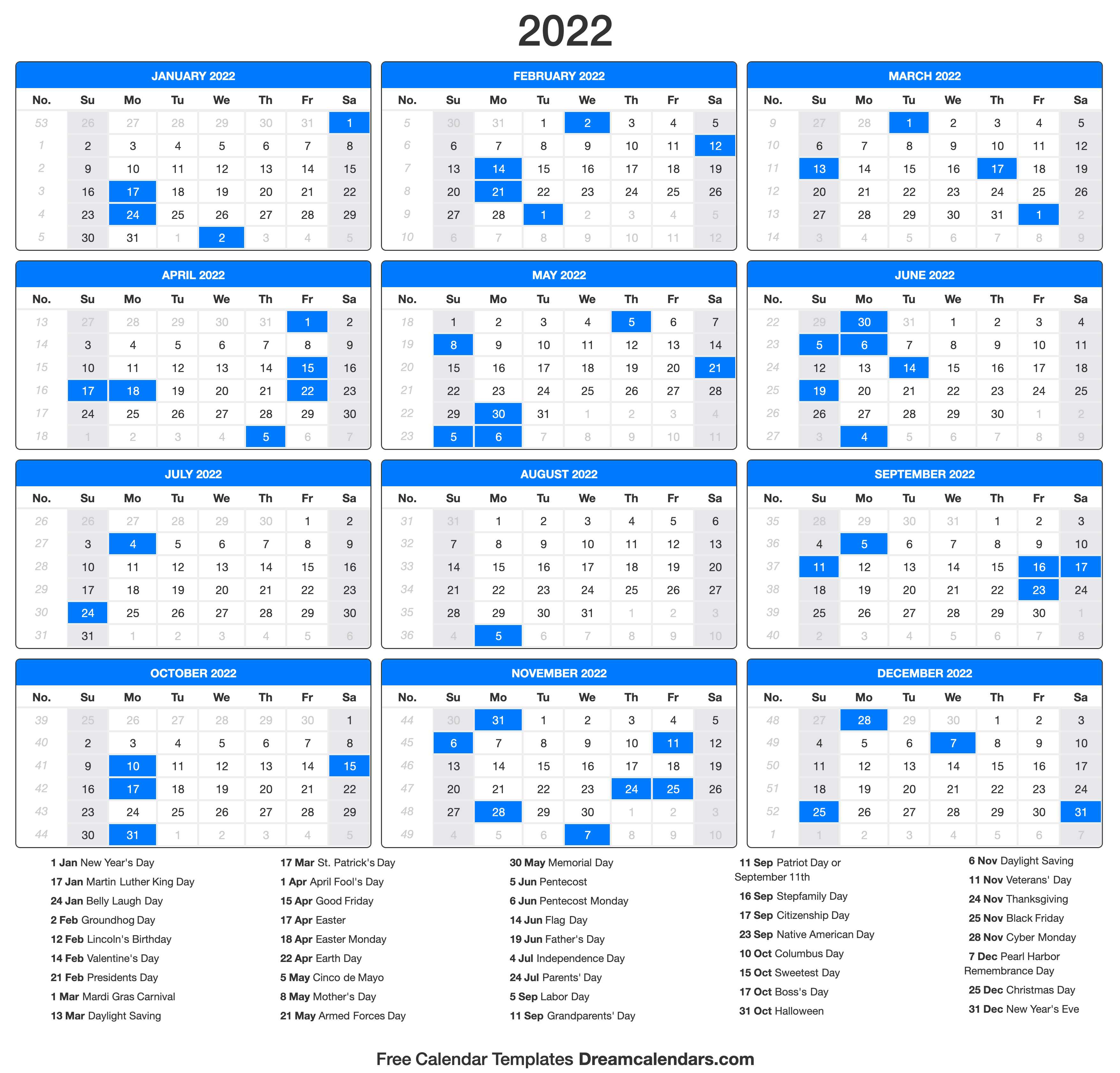 Portrait) on one page in easy to print pdf format. 2022 Calendar