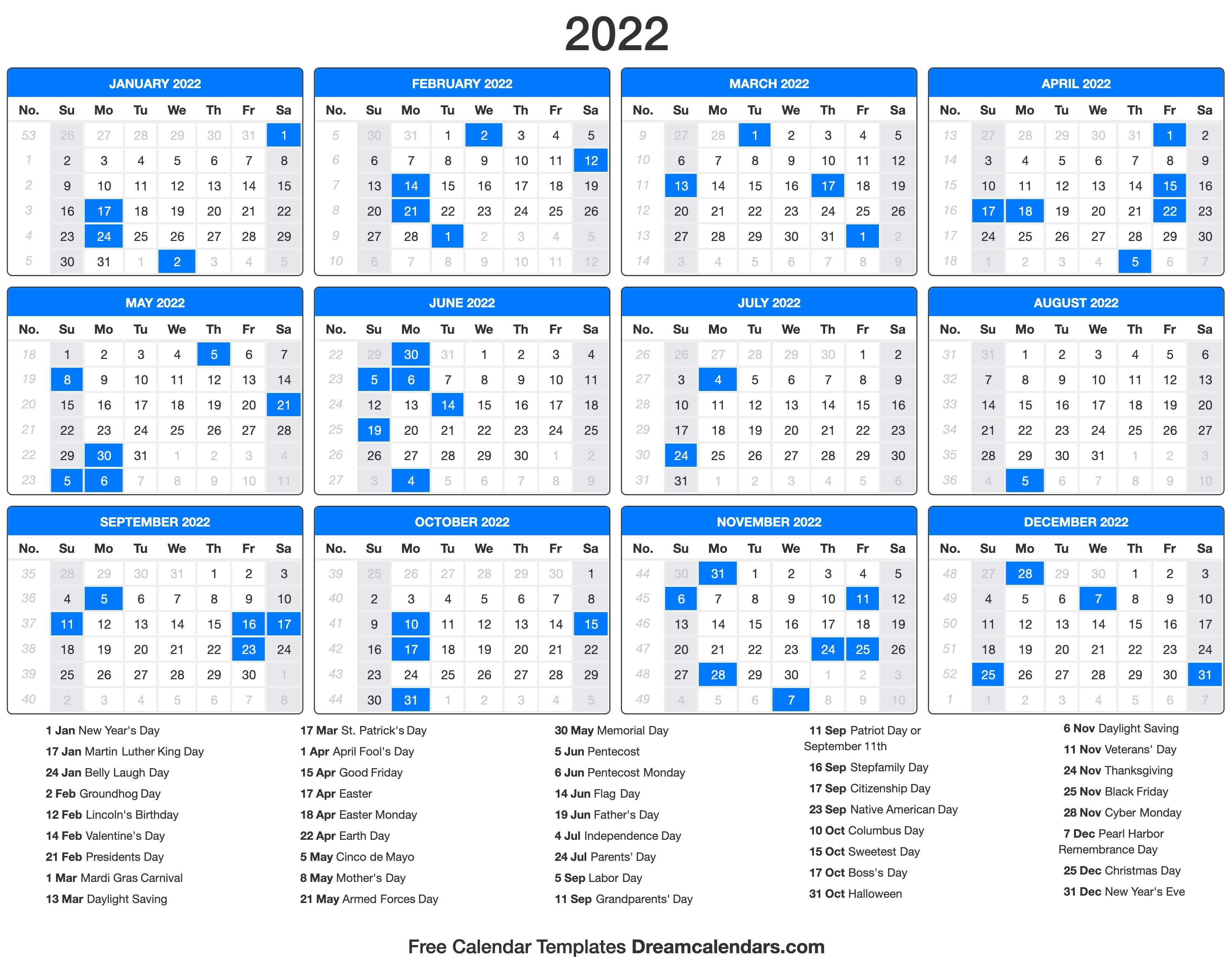 Below are year 2022 printable calendars you re welcome to download and print. 2022 Calendar