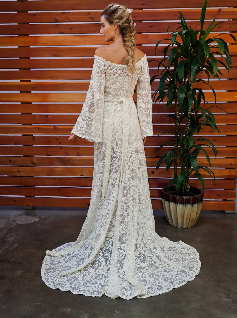 Off Shoulder Boho Lace Wedding Dress Dreamers And Lovers