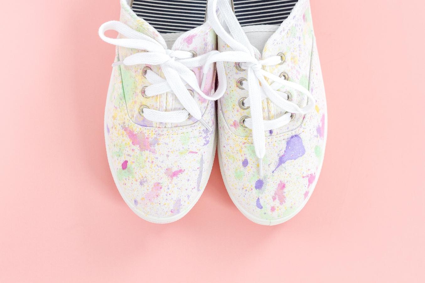 Diy Abstract Paint Splatter Shoes Dream Green Diy