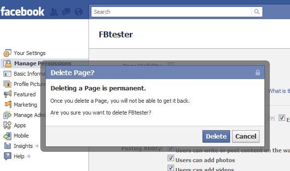 Delete Facebook fan page