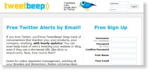 tweetbeep 48 Free Social Media Monitoring Tools