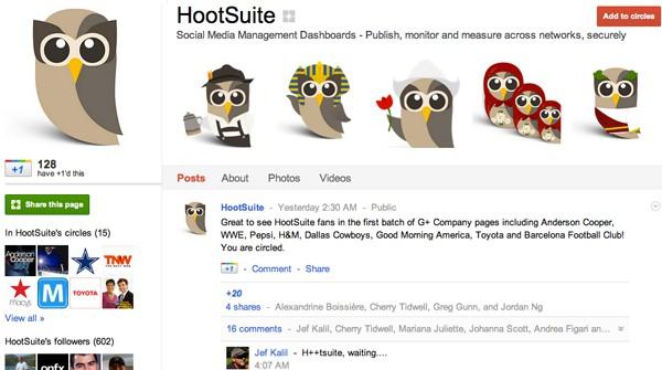 hootsuite google plus page