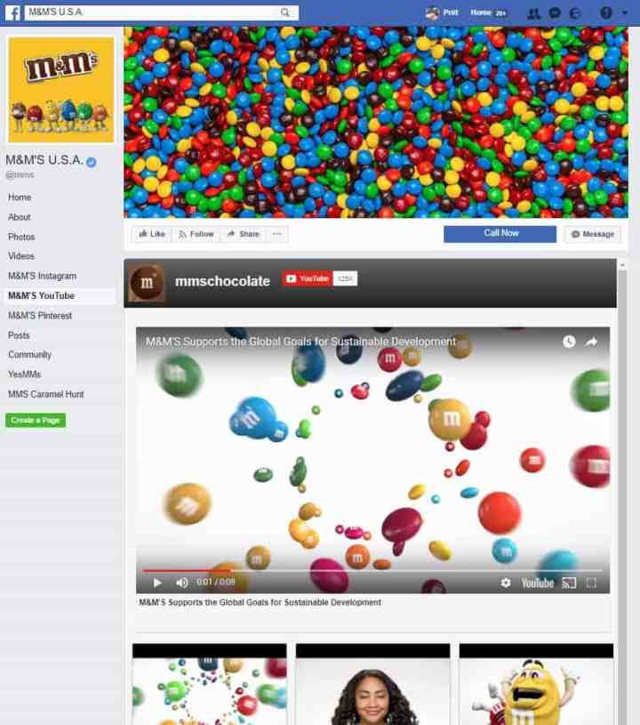 food beverages facebook page m&m's