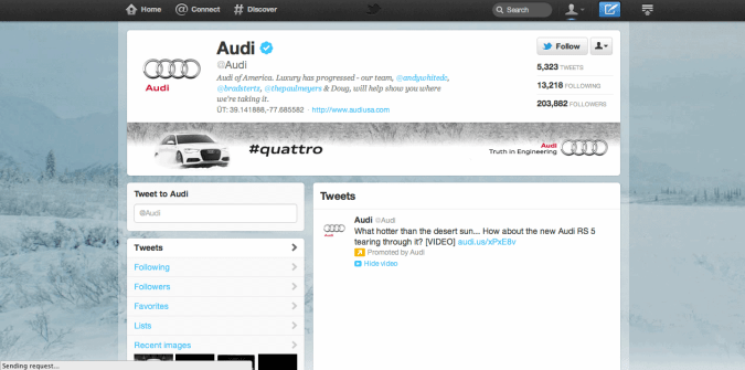 audi twitter brand page