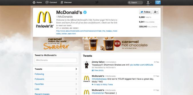 mcdonalds twitter brand page