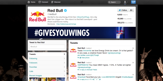 red bull twitter brand page