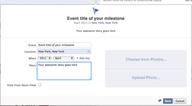 make facebook milestone event