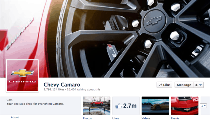 chevy camaro facebook cover photo