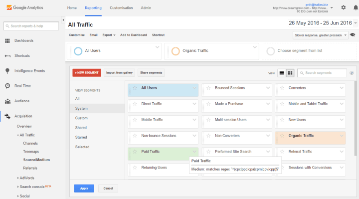 google analytics segments
