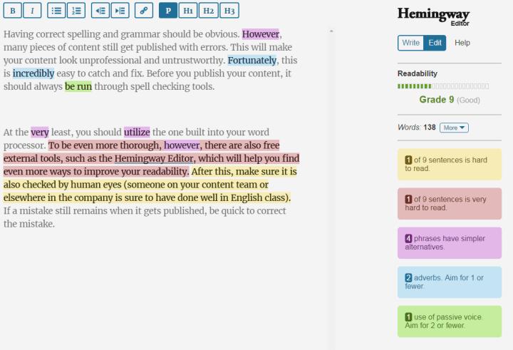 hemingway app writing tools