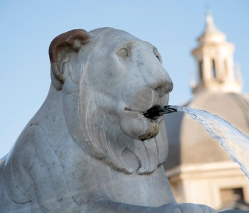 Lion fountain in Piazza del Popolo