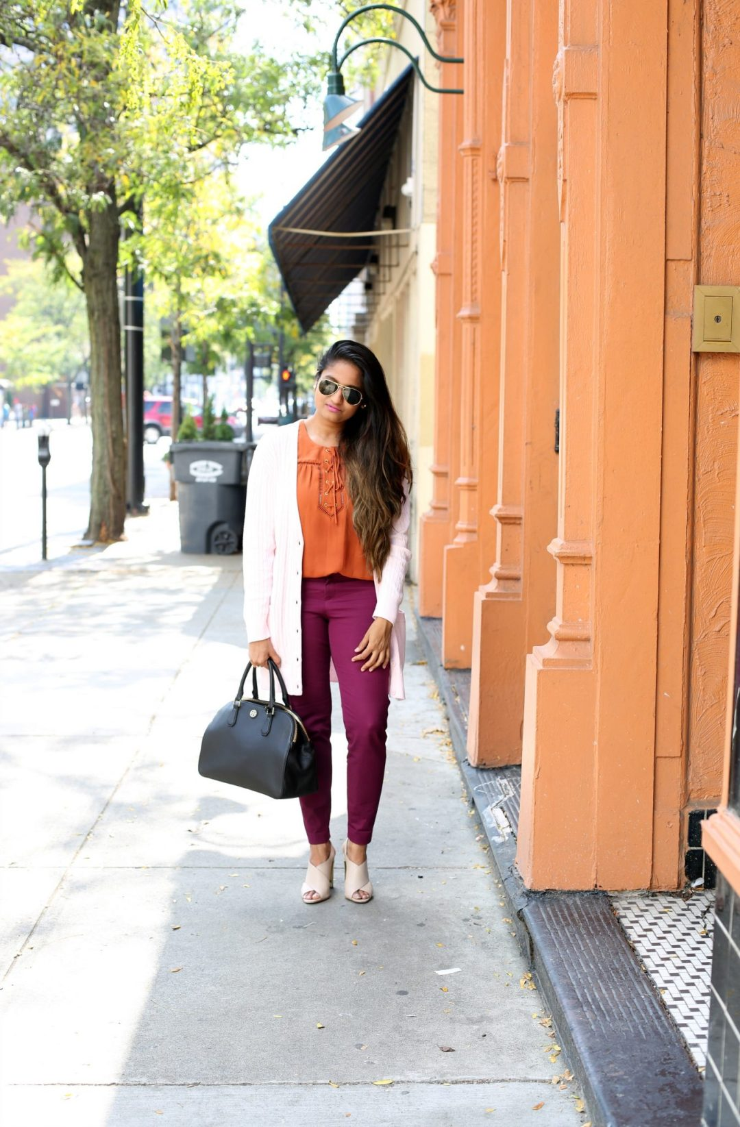Life Style Blogger Surekha of Dreaming Loud wearing Old Navy Pixie Ankle Pant in Winter Wine