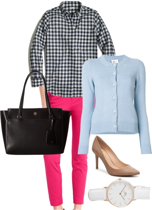 How-to-wear-light-blue-cardigan-with-pink-and-gingham-to-work-by-dreaming-loud