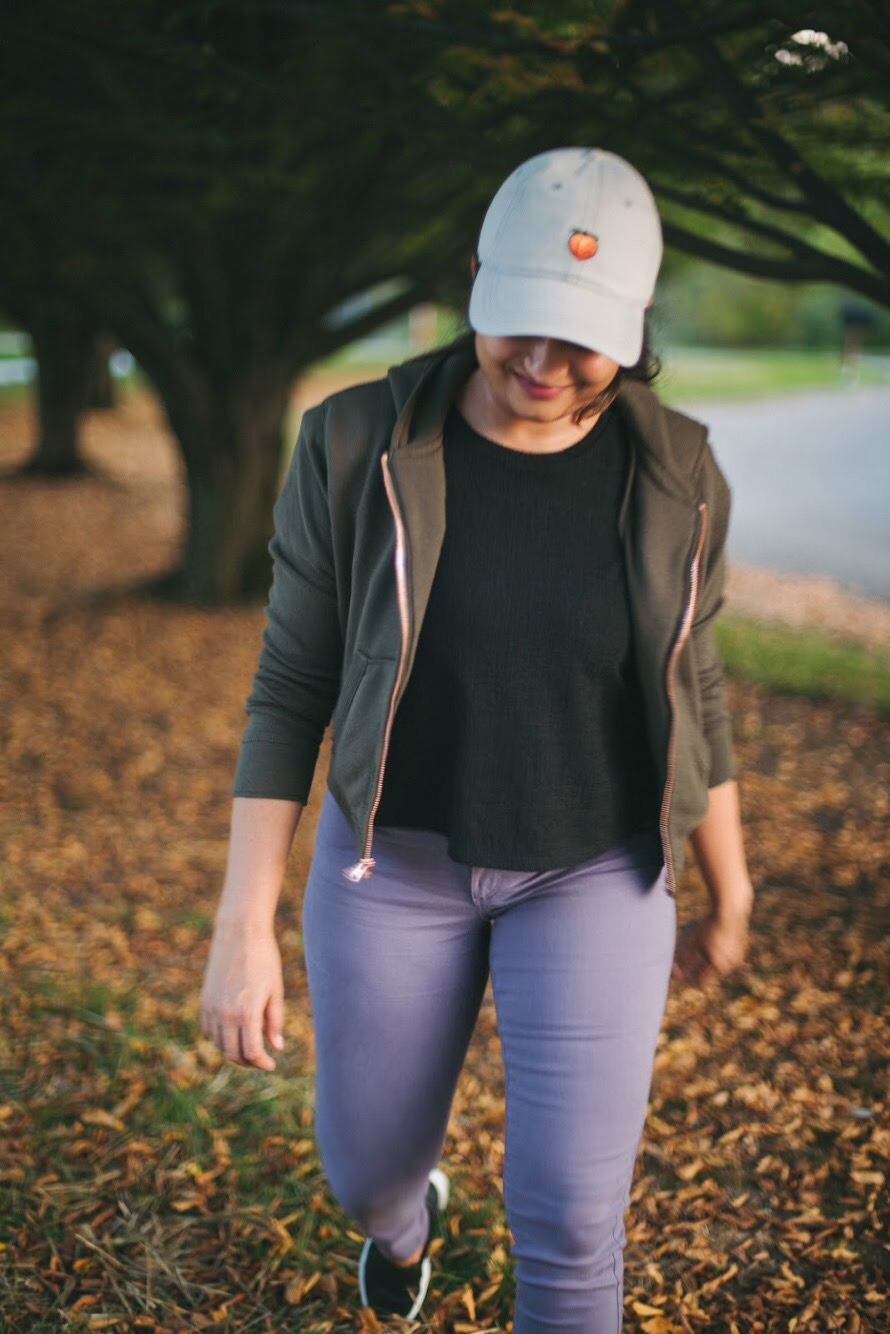 Lifestyle Blogger Surekha of dreaming loud wearing Abercrombie and fitch cropped zip up hoodies in olive