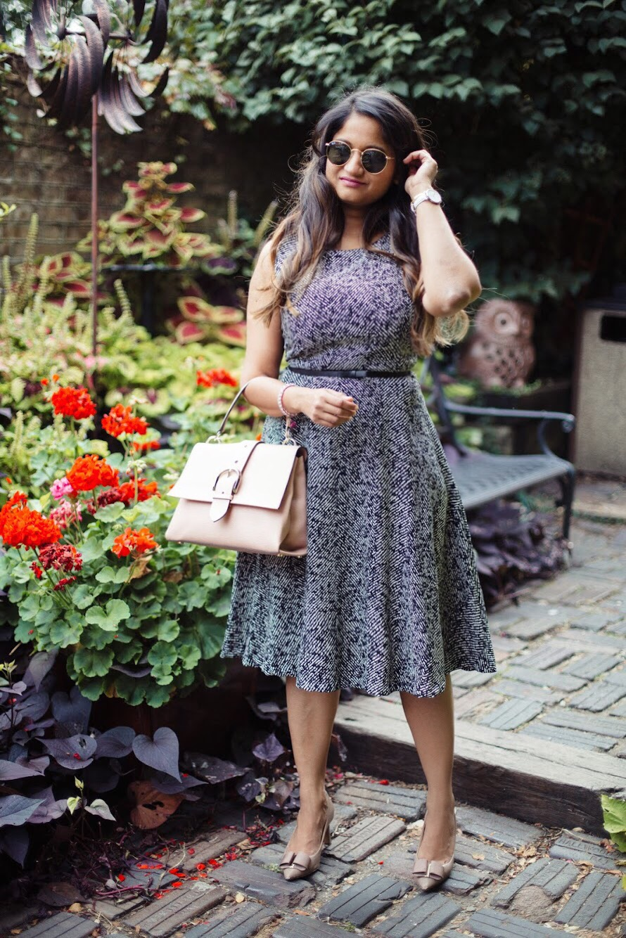 Lifestyle-Blogger-Surekha-of-dreaming-loud-wearing-Letote- PHILOSOPHY-Herringbone-Dress-3