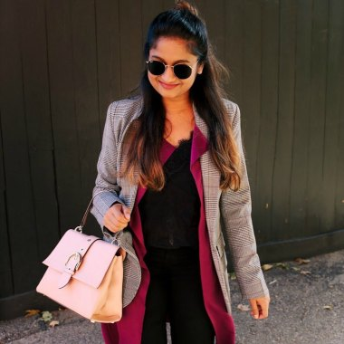 Lifestyle blogger Surekha of Dreaming Loud layering Target A new day plaid boyfriend blazer