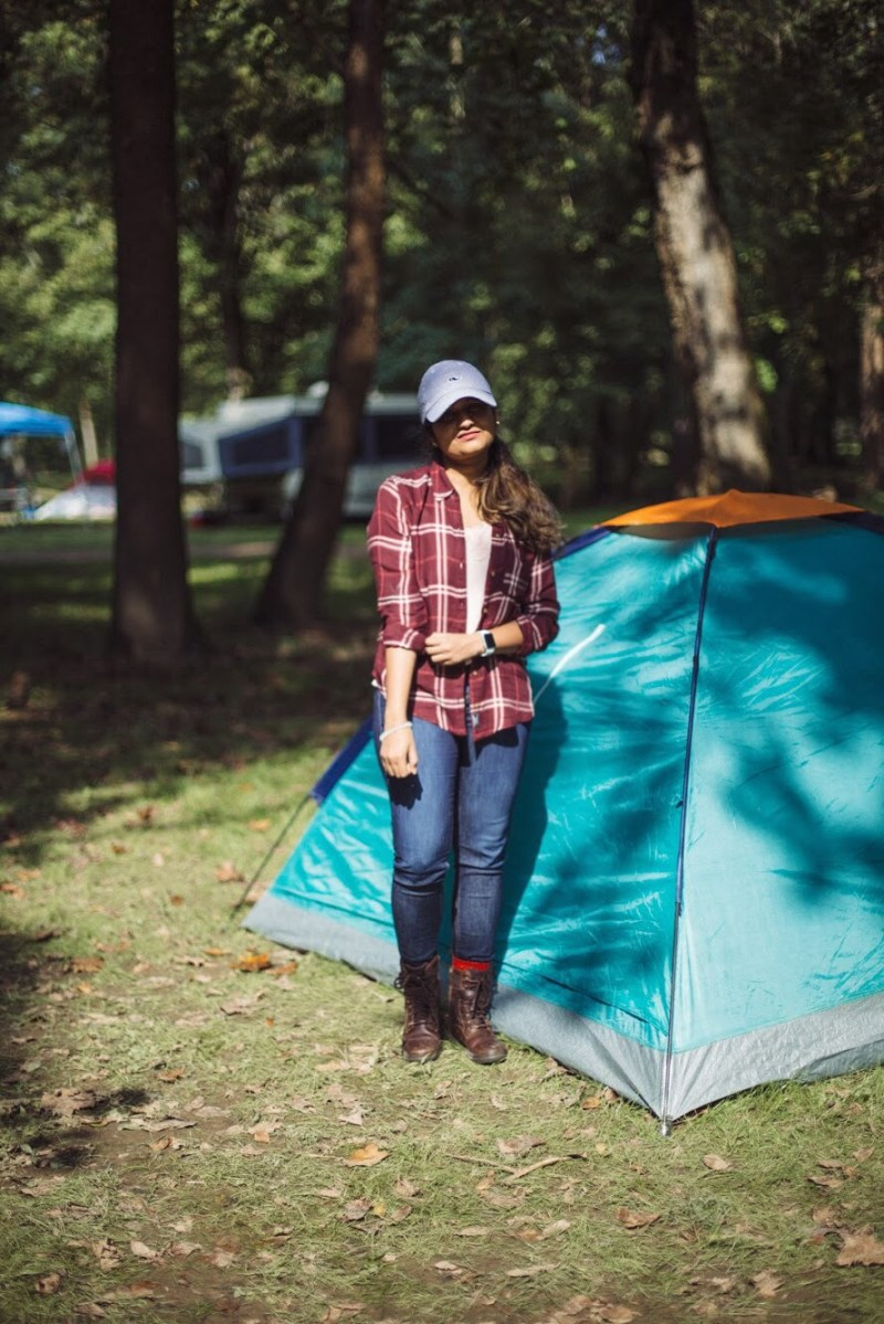 Lifestyle blogger Surekha of Dreaming Loud sharing what to wear to a camping trip in fall1