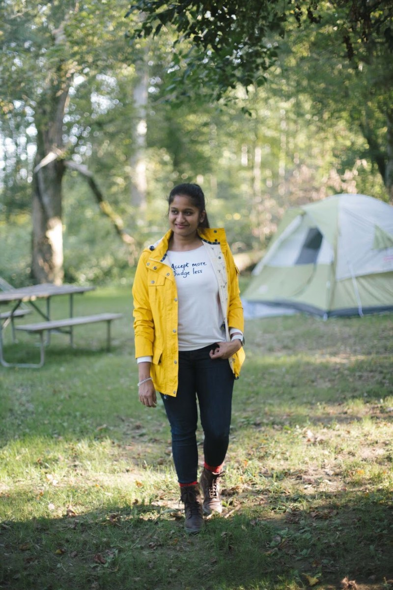 Lifestyle blogger Surekha of Dreaming Loud sharing what to wear to a camping trip in fall2